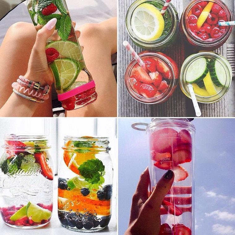Borraccia di vetro con acqua aromatizzata alla frutta, da servire in barattoli di vetro