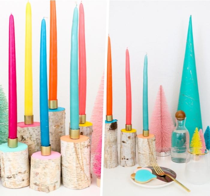 Centrotavola natalizio fai da te, portacandele di legno, candele colorate