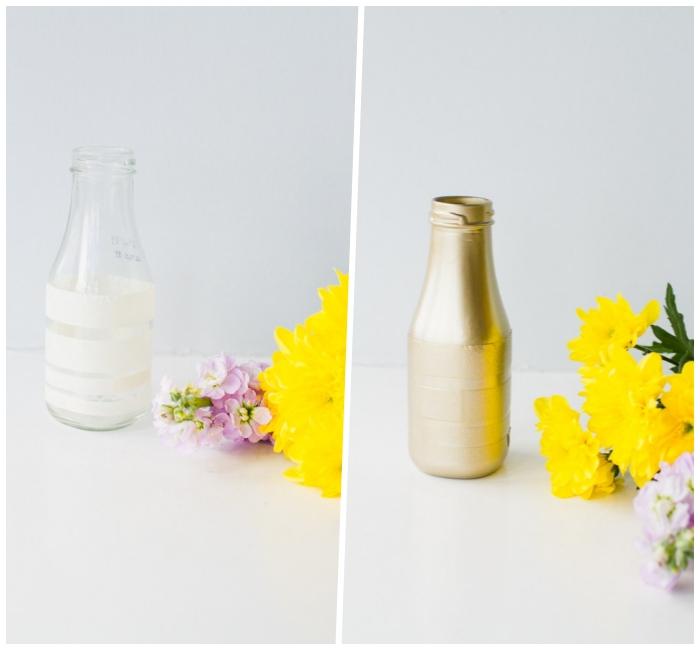 Allestimento tavoli matrimonio, bottiglie di vetro dipinte, fiori gialli