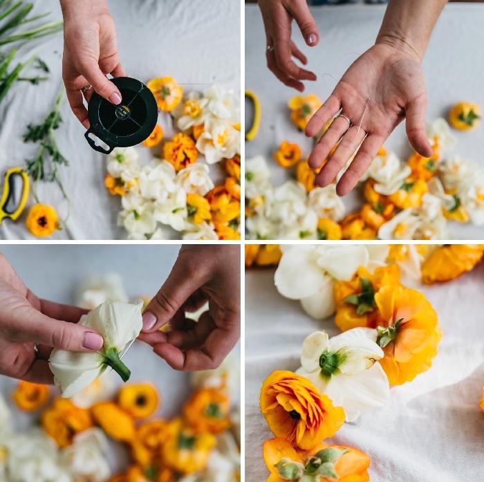 Tutorial con fiori, allestimento tavoli matrimonio, ghirlanda di fiori
