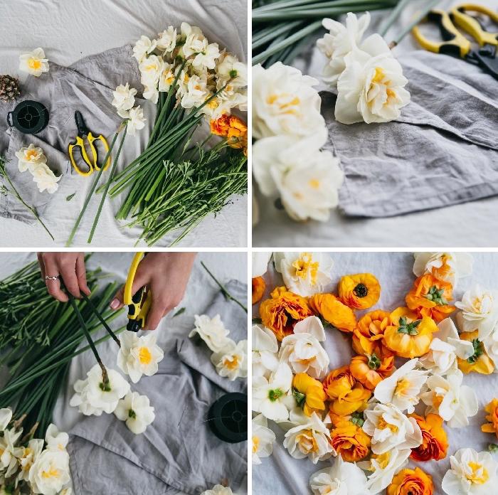 Allestimento tavoli matrimonio, ghirlanda di fiori, centrotavola con fiori