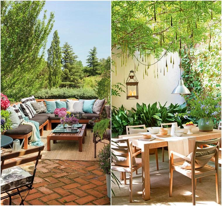 Arredamento con mobili in legno e decorazione con cuscini colorati, alberi sempreverdi con lanterne appese