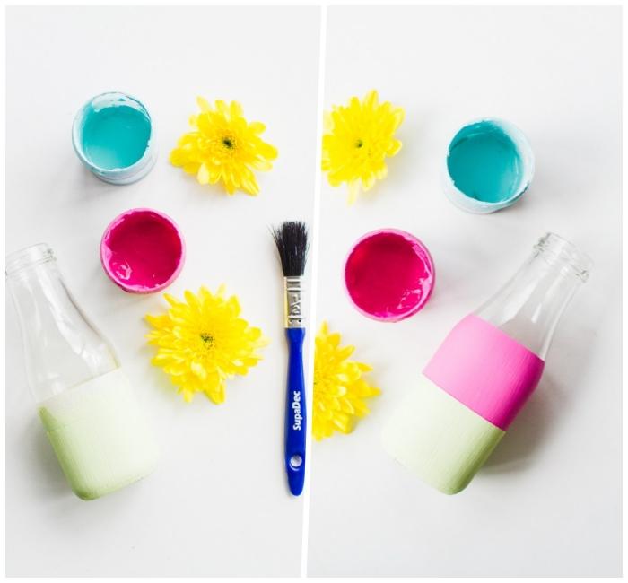 Addobbi tavoli matrimonio, bottiglie di vetro dipinte, pennello e colori