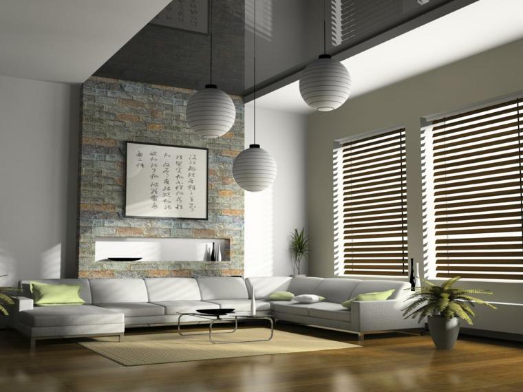 moderno living room con un grande divano bianco, un tappeto rettangolare color crema e pareti in pietra