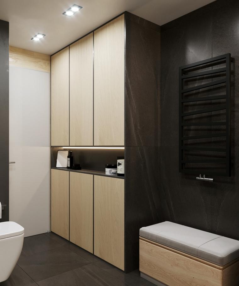 Rivestimento bagno moderno con piastrelle grès porcellanato di colore nero