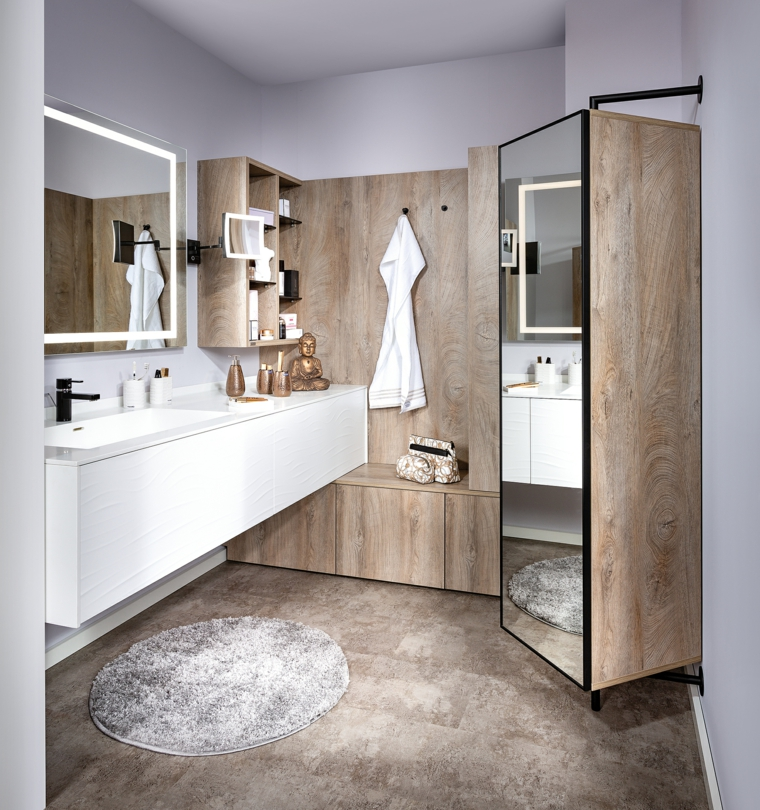 Bagni moderni, sala da bagno con armadio specchio sospeso, pavimento grigio con tappeto rotondo