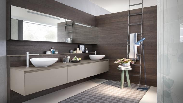 Idee bagno piastrelle di colore bianco per il pavimento, mobile grigio con due lavabi da appoggio