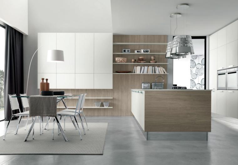 mobili moderni color wengè, isola attrezzata e tavolo da pranzo, idea per arredare una cucina open space