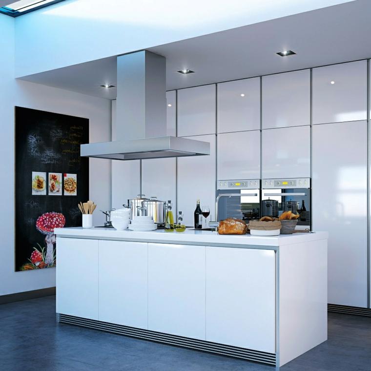 pavimento scuro, immagini cucine moderne bianche laccate con isola attrezzata