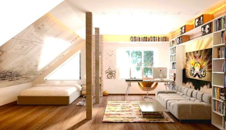 idea per arredare mansarda in uno stile giovane con letto, divano, zona studio e libreria