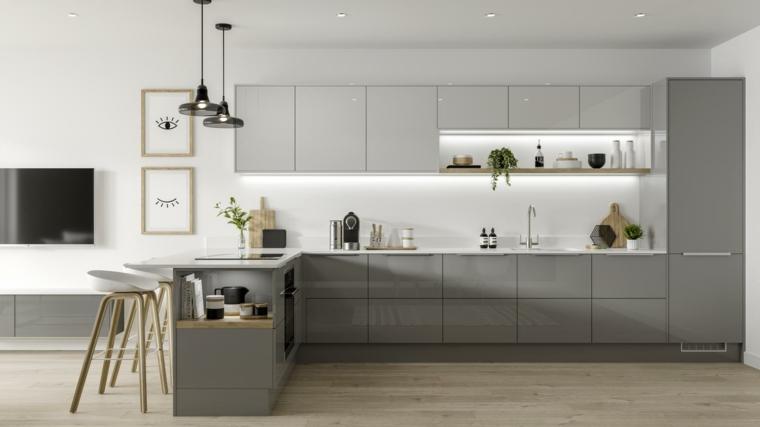 arredamento in stile moderno colori grigio tortora lucido cucina con isola laterale come tavolo da pranzo