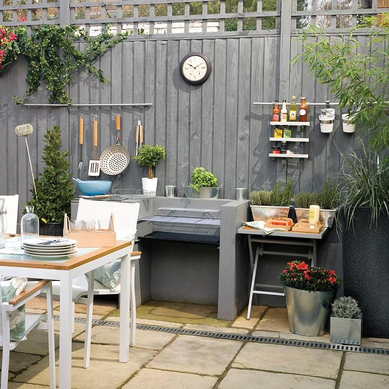 Piante da giardino in vaso e rampicanti, arredamento da esterno con mobili in legno e una cucina da esterno