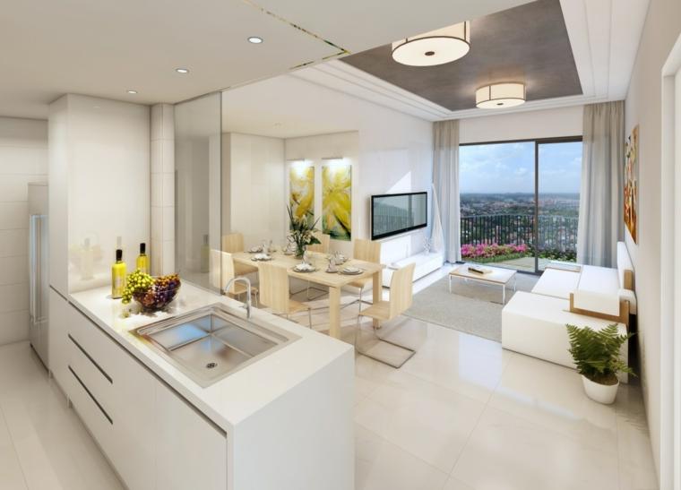 mobili, pareti e pavimenti bianchi, cucina open space con isola con lavello, tavolo da pranzo in legno chiaro
