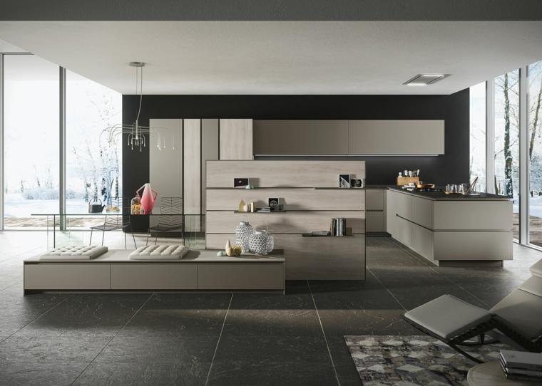 come arredare ambiente unico cucina soggiorno con mobili lineari e moderni color tortora, parete e pavimenti grigi