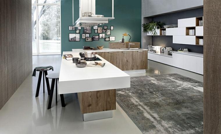 parete centrale divisoria open space cucina soggiorno moderno con mobili bianchi e in legno scuro