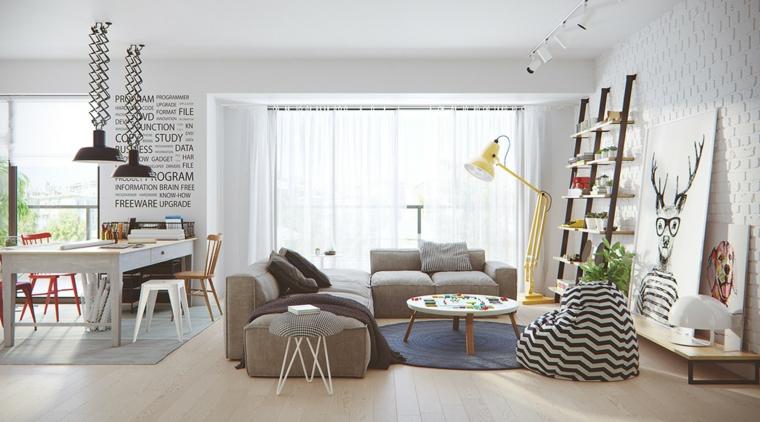 Abbinamento colore pareti in un soggiorno moderno con divano e tavolo da pranzo