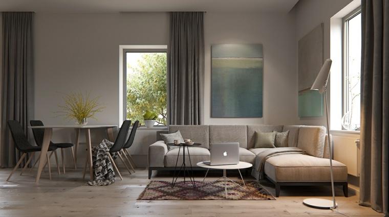 Soggiorni moderni e un'idea con tavolo da pranzo e divano nella stessa tonalità di colore