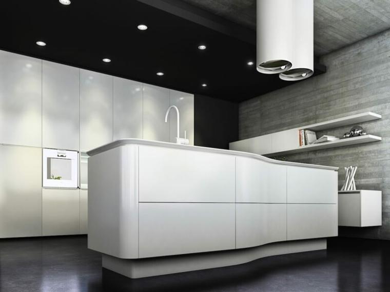 proposta d'arredo all'avanguardia con una grande isola cucina bianca e dei mobili bianchi a parete