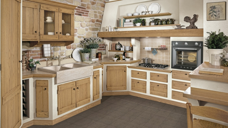 1001 idee per cucine in muratura funzionali e accoglienti - Ante per cucina in muratura ...