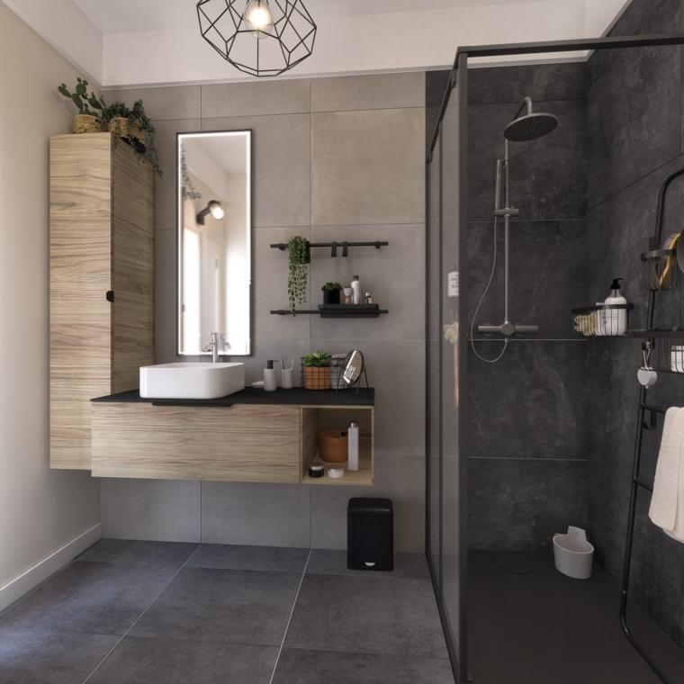 Idee rivestimento bagno, sala da bagno con box doccia, mobile in legno sospeso con armadietto