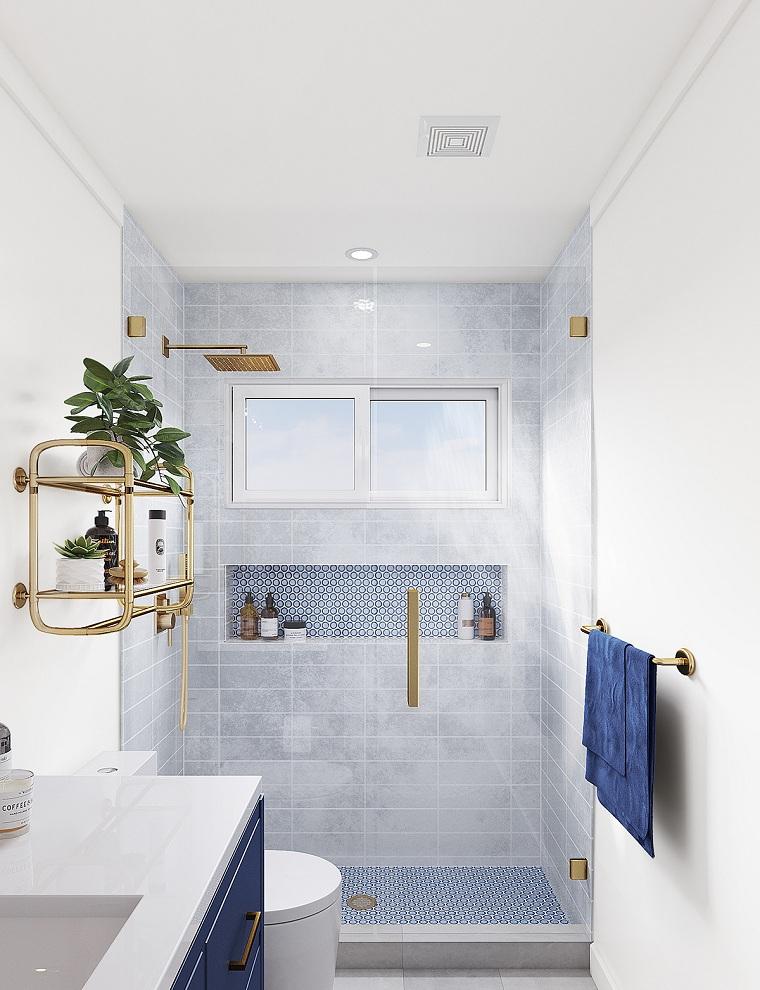 Idee bagno moderno piccolo, parete da bagno rivestita con piastrelle blu