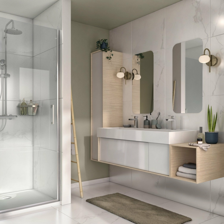 Idee bagno moderno piccolo, sala da bagno con box doccia e mobile lavabo sospeso