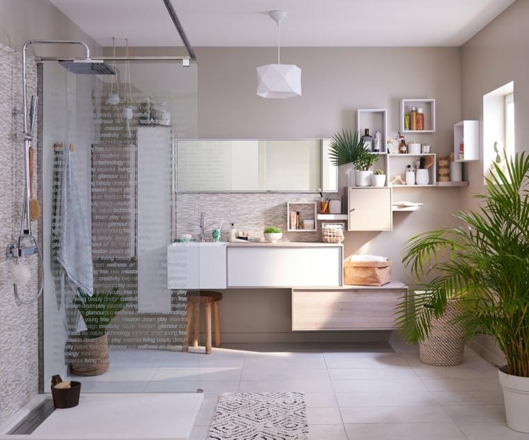 Idee bagno moderno piccolo, mobile lavabo sospeso con mensole, bagno con box doccia