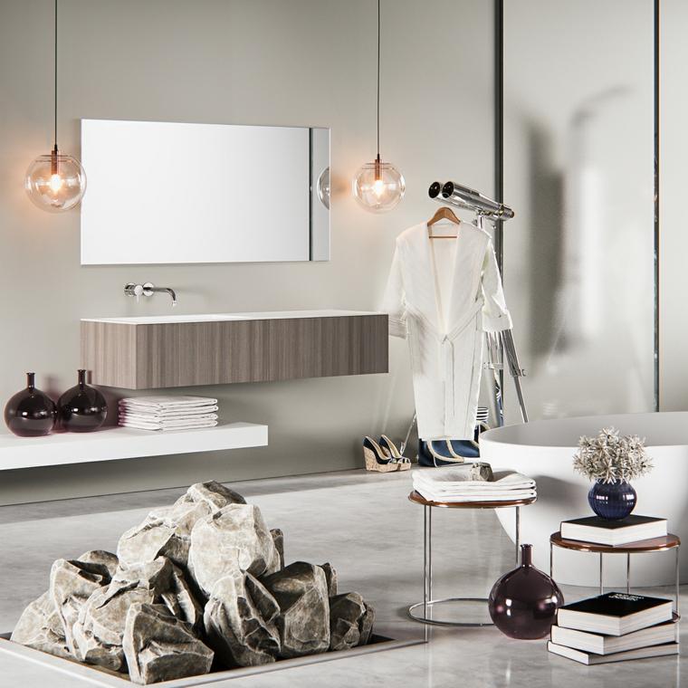 Rocce decorative per terra, rivestimenti bagni moderni immagini, illuminazione con lampade sospese