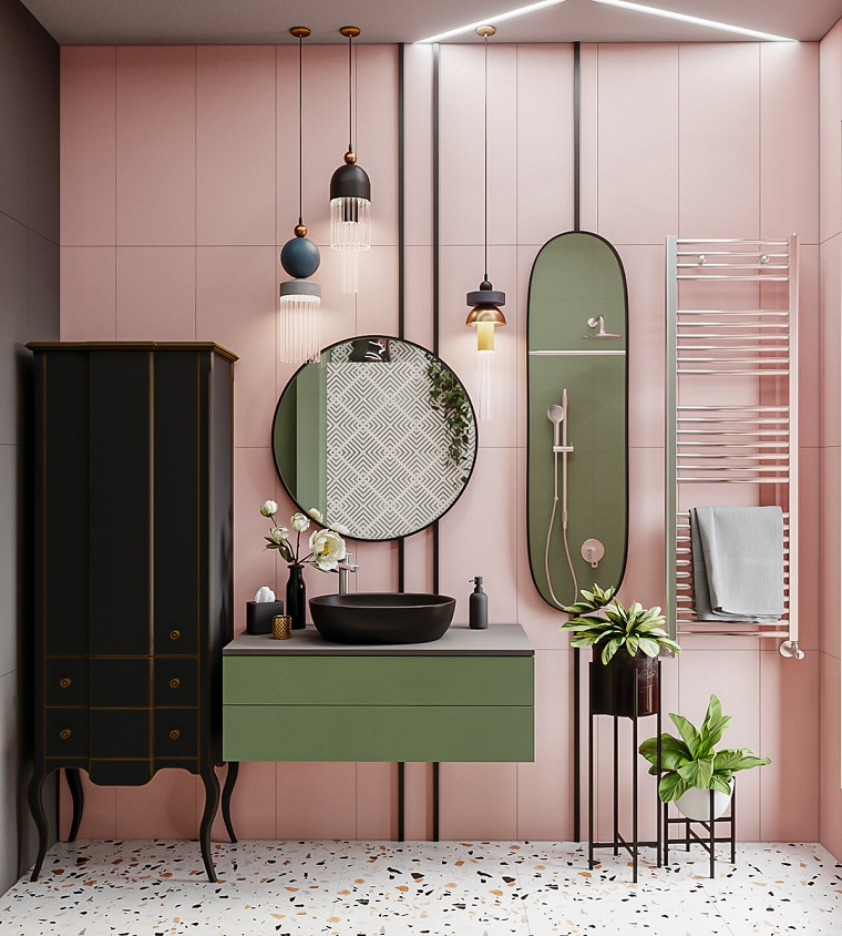 Idee bagno moderno piccolo, rivestimento pareti bagno con piastrelle di colore rosa