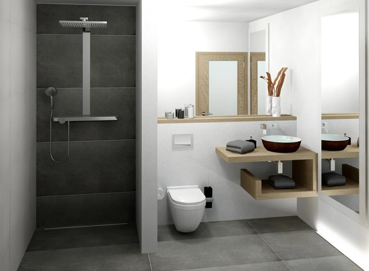 Come arredare un bagno con mobile di legno a spirale e lavandino da appoggio, doccia separata da pannello di cartongesso