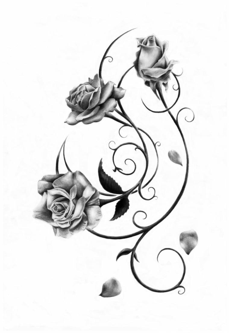 disegno realizzato a matita in bianco e nero di due rose e un bocciolo, idea per tatuaggio rosa