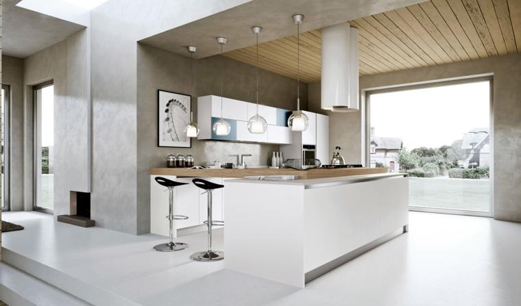 bellissima soluzione dall'architettura moderna, cucina bianca con isola, sgabelli e grande cappa bianca