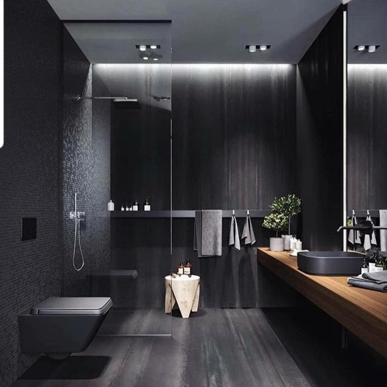 Come arredare un bagno, sala da bagno con box doccia, parete rivestita con piastrelle nere