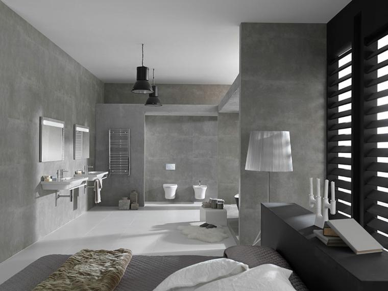Zona notte con bagno padronale a vista, rivestimenti bagni moderni immagini e pareti di colore grigio