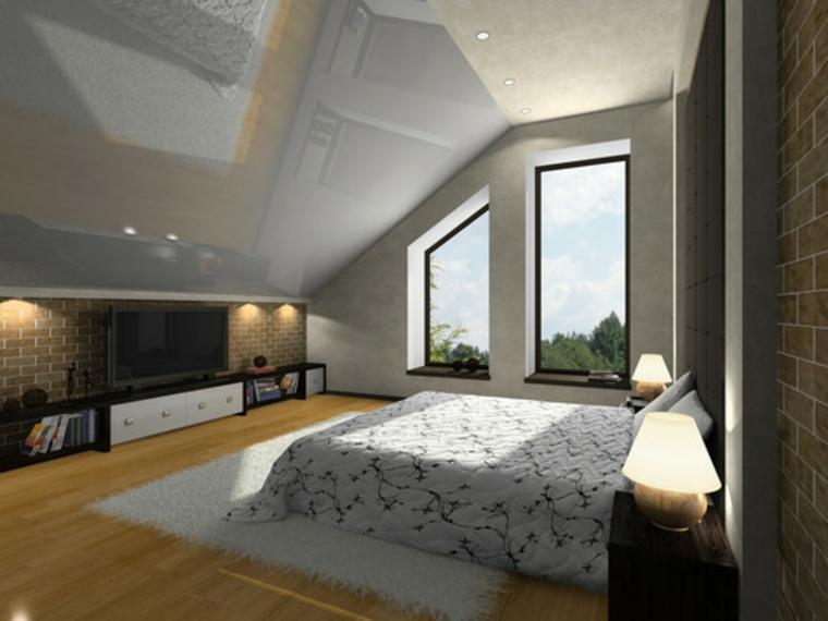 finestre con profilo nero, parquet, camera da letto in una mansarda arredata in stile classico