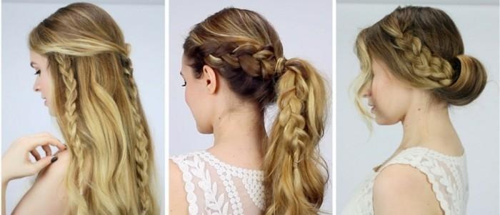 tre pettinature semplici e veloci con le trecce su capelli lunghi lisci e biondi