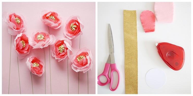 Fiori di carta crespa di colore rosa, l'occorrente per realizzarli con forbici, carta colorata e colla