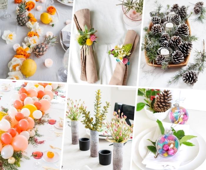 Segnaposti tavola natale, decorazioni con pigne, centrotavola con vasi