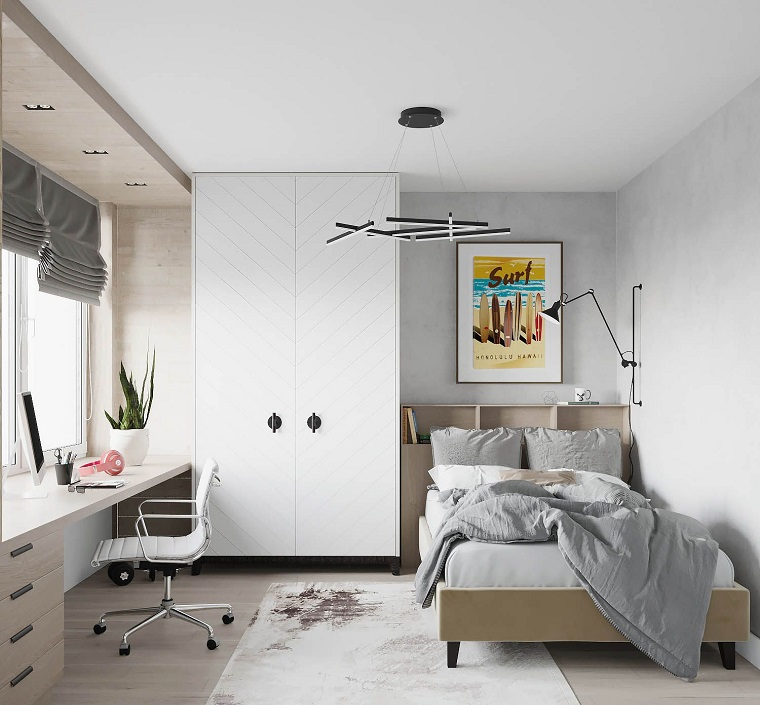 color tortora pareti interni casa cameretta con letto matrimoniale sedia girevole di pelle