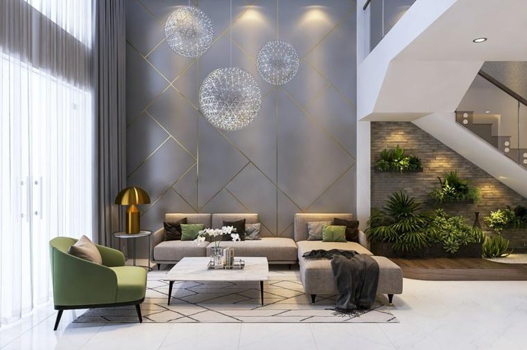 color tortora pareti interni casa soggiorno spazioso con divano angolare