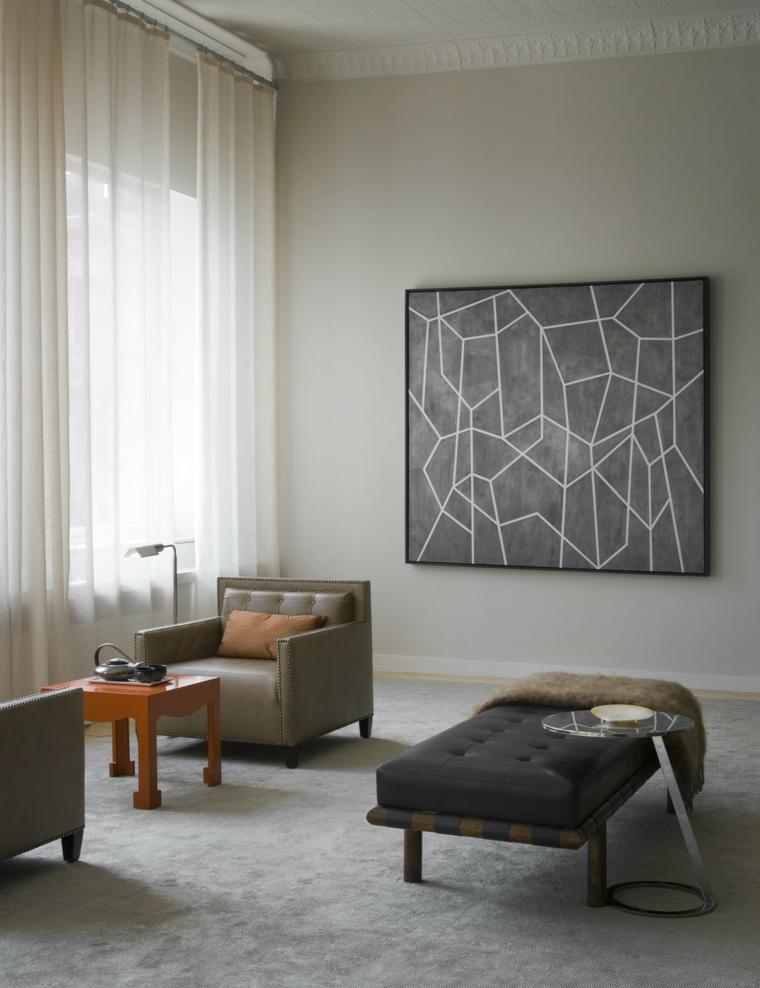 colori pareti soggiorno tortora decorazione con quadro geometrico finestre con tende trasparenti