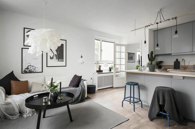 arredamento in stile nordico cucina soggiorno open space con mobili della cucina e tappeto grigi