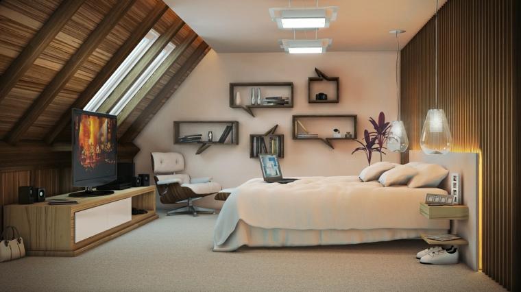 idee per arredare una camera da letto mansardata con lamapdari a sospensione e mensole