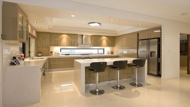 soluzione moderna e funzionale per arredare cucina open space a u con isola e sgabelli