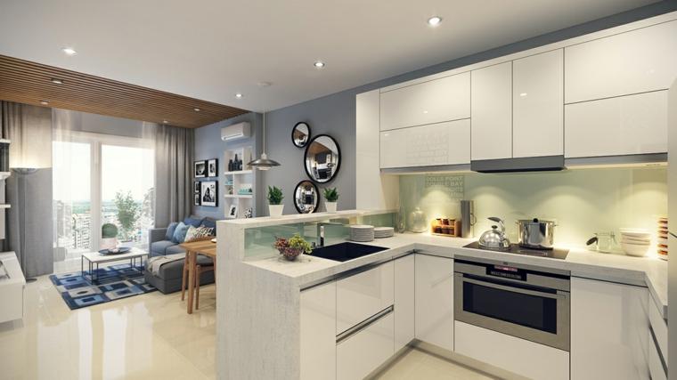 come arredare open space cucina soggiorno con mobili della cucina bianchi a l, parete del soggiorno blu-grigio