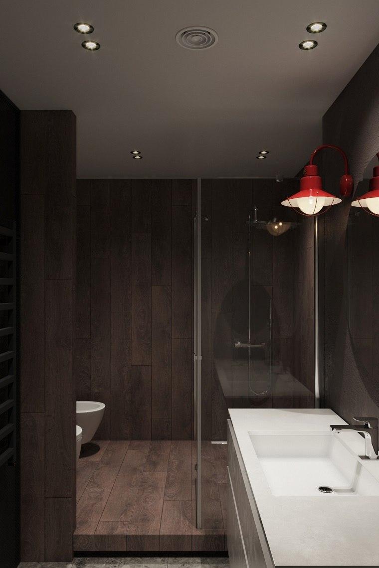 Bagni moderni, rivestimento pareti bagno con legno, illuminazione con faretti