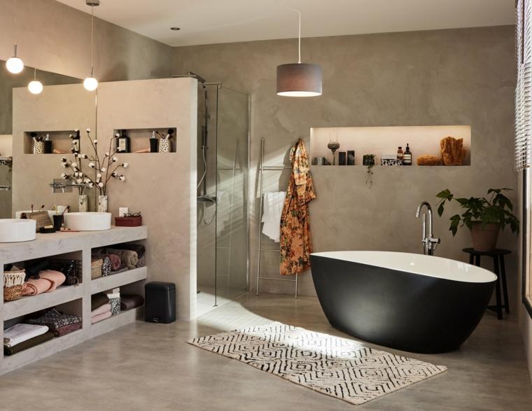 Come arredare un bagno, sala da bagno con vasca nera, box doccia con porta di vetro
