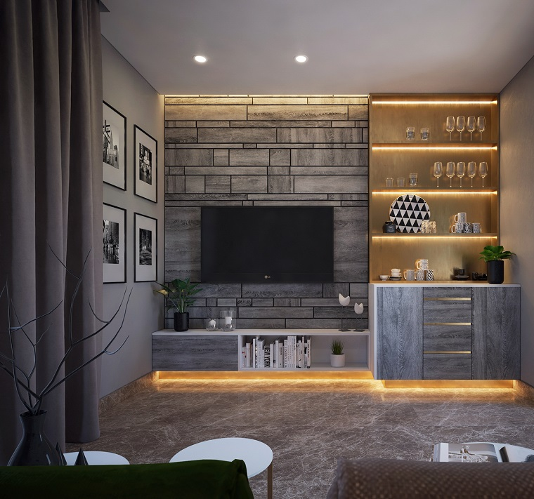 Soggiorni moderni con mobili in legno di colore grigio, decorazione pareti con quadri