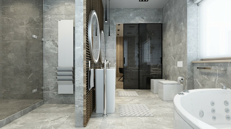 bagno moderno con doccia freestanding, pareti rivestite in pietra, vasca idromassaggio e sanitari moderni