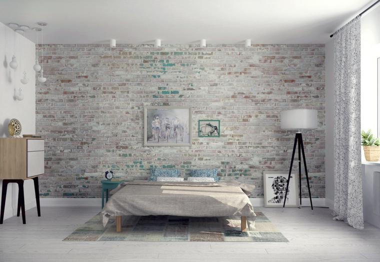stile nordico camera da letto con parete rivestita in pietra, lampade bianche e tappeto a quadri